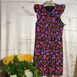 J Crew; 100% silk floral shift dress; 10